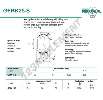 DGEBK25-S-DURBAL - 25x56x22 mm