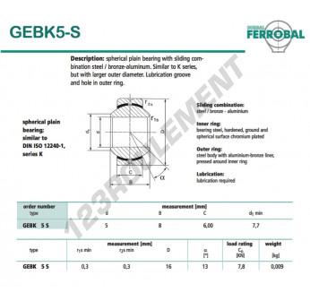 GEBK5-S-DURBAL - 5x16x6 mm