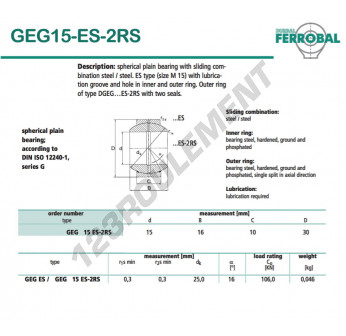 GEG15-ES-2RS-DURBAL - 15x30x10 mm