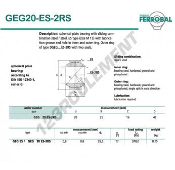 DGEG20-ES-2RS-DURBAL - 20x42x16 mm