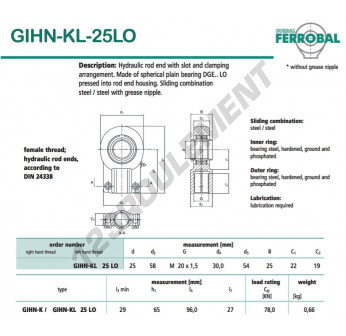 GIHN-KL-25LO-DURBAL - 25x58x22 mm