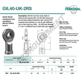 DGIL40-UK-2RS-DURBAL - 40x92x28 mm