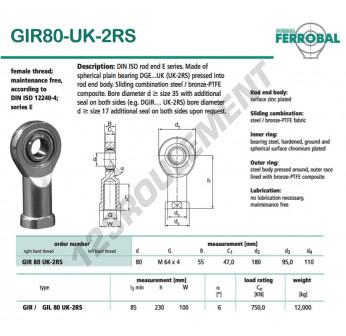 GIR80-UK-2RS-DURBAL - 80x180x55 mm