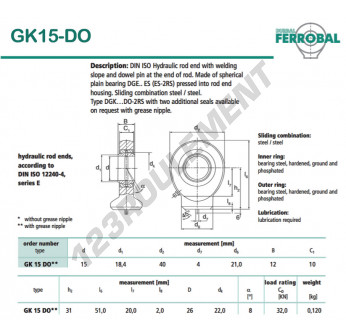GK15-DO-DURBAL - 15x40x12 mm
