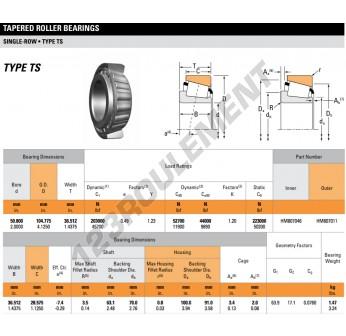 HM807046-HM807011-TIMKEN - 50.8x104.78x36.51 mm