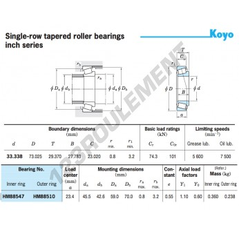 HM88547-HM88510-KOYO - 33.34x73.03x29.37 mm