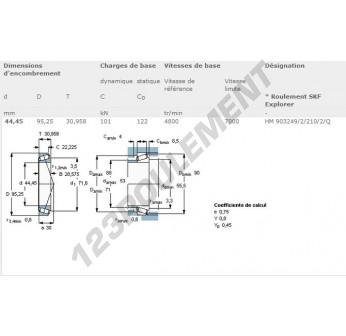 HM903249-2-HM903210-2-Q-SKF - 44.45x95.25x30.96 mm