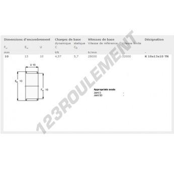 K10-13-10-TN-SKF - 10x13x10 mm