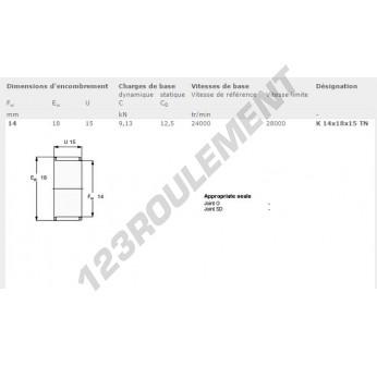 K14-18-15-TN-SKF - 14x18x15 mm