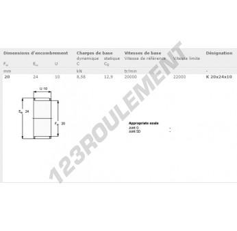 K20-24-10-SKF - 20x24x10 mm