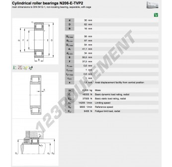 N206-E-TVP2-FAG - 30x62x16 mm