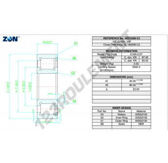 NCF2208-V-C3-ZEN - 40x80x23 mm