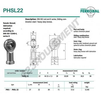 PHSL22-DURBAL - 22x54x28 mm