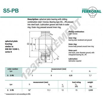 DS5-PB-DURBAL - 5x16x6 mm