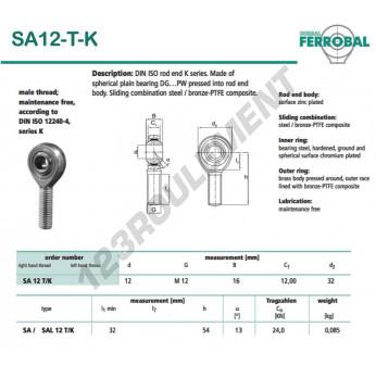SA12-T-K-DURBAL - x12 mm