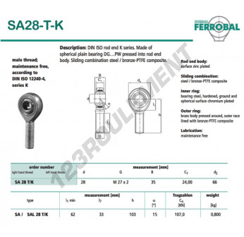 SA28-T-K-DURBAL - x28 mm