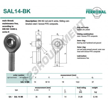 DSAL14-BK-DURBAL - x14 mm