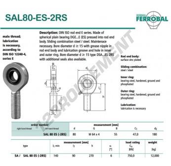 DSAL80-ES-2RS-DURBAL - x80 mm