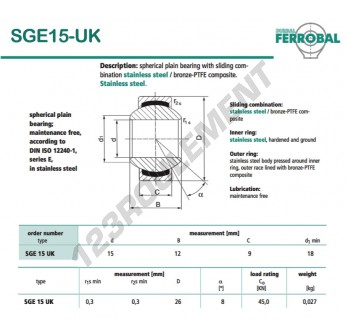 SGE15-UK-DURBAL - 15x26x9 mm