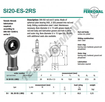 SI20-ES-2RS-DURBAL - 20x53x16 mm