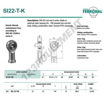 SI22-T-K-DURBAL - 22x54x28 mm