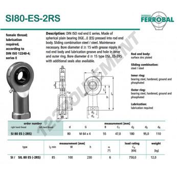 SI80-ES-2RS-DURBAL - 80x180x55 mm