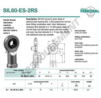 DSIL60-ES-2RS-DURBAL - 60x135x44 mm