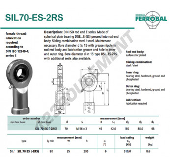 SIL70-ES-2RS-DURBAL - 70x160x49 mm