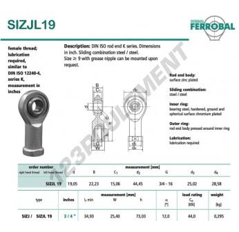 SIZJL19-DURBAL - 19.05x44.45x22.23 mm