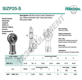 SIZP25-S-DURBAL - 25.4x69.85x34.93 mm