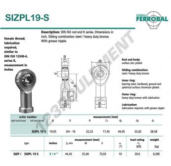 DSIZPL19-S-DURBAL - 19.05x44.45x22.23 mm