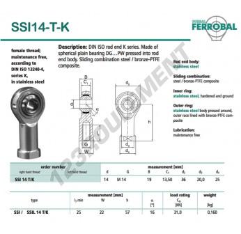 SSI14-T-K-DURBAL - 14x36x19 mm