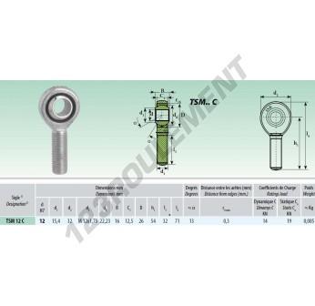 TSM012-C - M12x12 mm