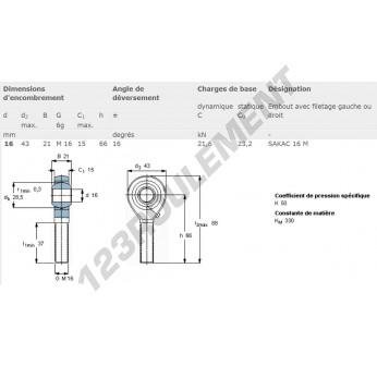 TSM016-SKF - M16x16 mm