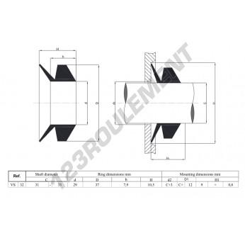 VS32-NBR - 32x10.5 mm