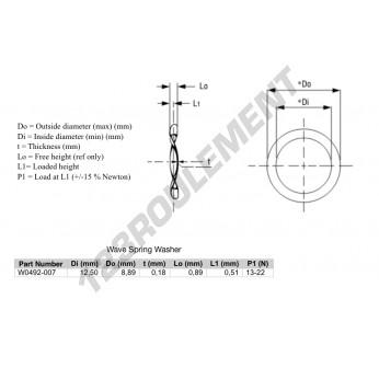 W0492-007 - 8.89x12.5x0.18 mm