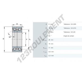 ZKLN0832-2Z - 8x32x20 mm