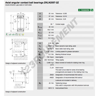 ZKLN2557-2Z-INA - 25x57x28 mm