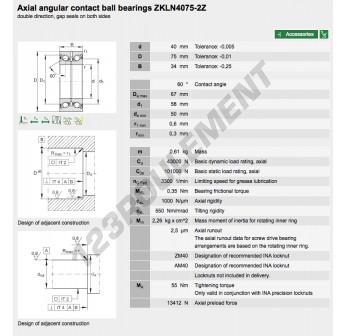 ZKLN4075-2Z-INA - 40x75x34 mm